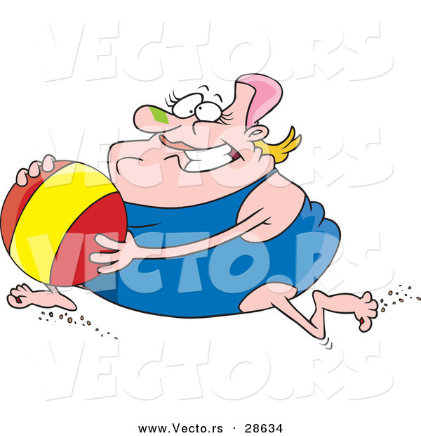 Vector of an Obese Cartoon Woman Running with a Beach Ball While Wearing a One Piece Swimsuit