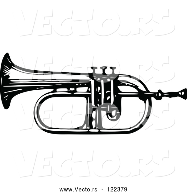 Vector of an Old Black and White Bugle Horn