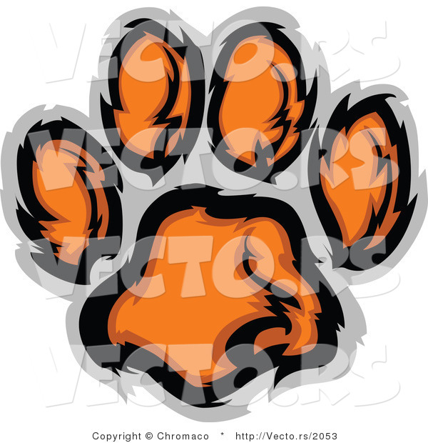 Vector of an Orange Tiger Paw Print