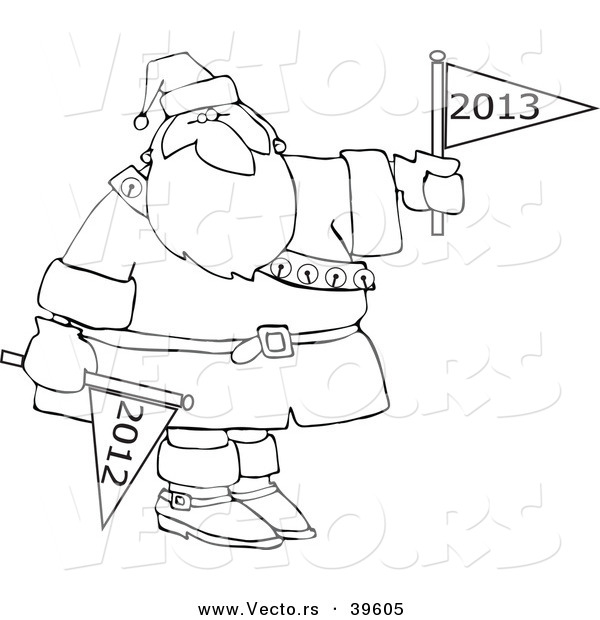 Vector of an Outlined 2013 Cartoon Santa