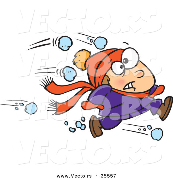 Vector of an Outnumbered Boy Running from a Snowball Fight