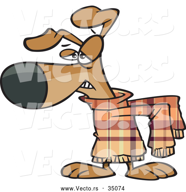 Vector of an Unhappy Cartoon Dog Wearing an Uncomfortable Sweater ...