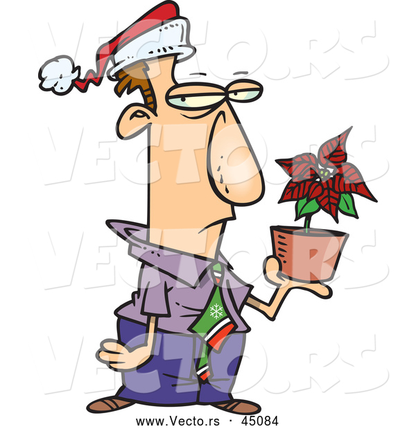 Vector of an Unhappy Cartoon Employee Holding a Potted Poinsettia Plant While Wearing a Santa Hat