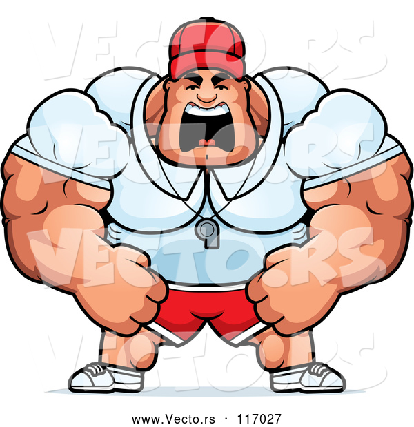 Vector of an Unstoppable Cartoon Muscular Male Sports Coach Yelling