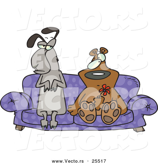 Vector of an Unsure Llama and Bear Sitting on a Love Seat Together