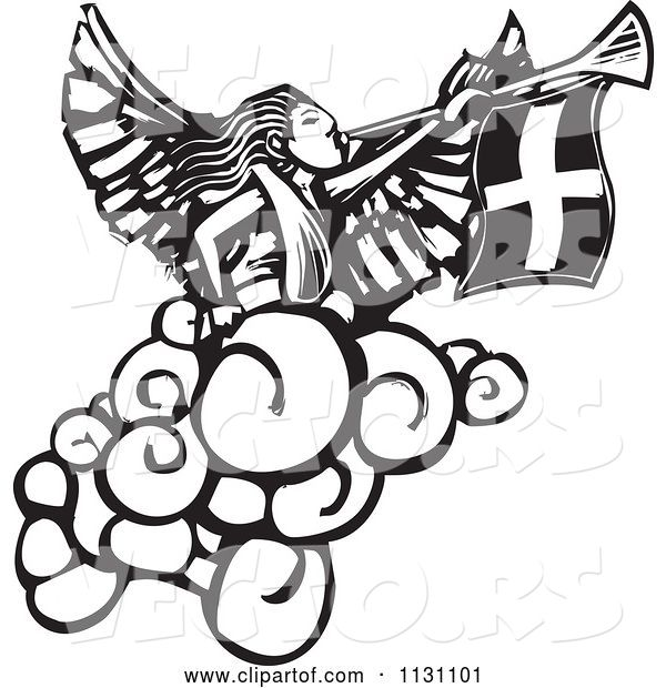 Vector of Angel Playing a Trumpet Black and White Woodcut
