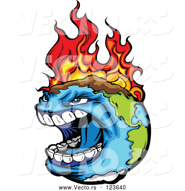 Vector of Angry Earth Screaming While Burning from Global Warming Fires