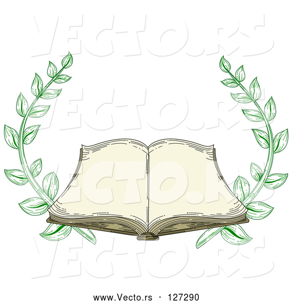 Vector of Antique Book Open with Blank Pages and Branches