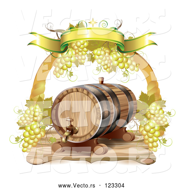 Vector of Arch of White Grapes and a Banner over a Wine Barrel