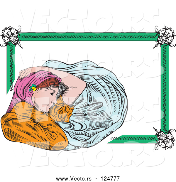 Vector of Art Deco Victorian Lady Frame