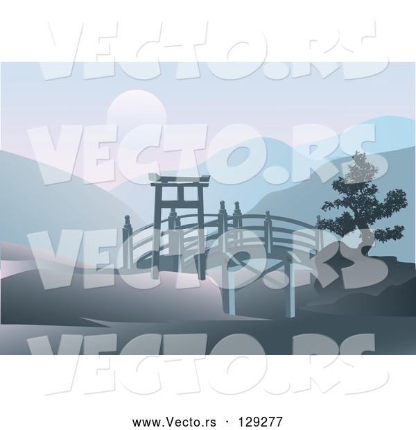 Vector of Asian Footbridge Spanning Through Hills with a Full Moon over Mountains