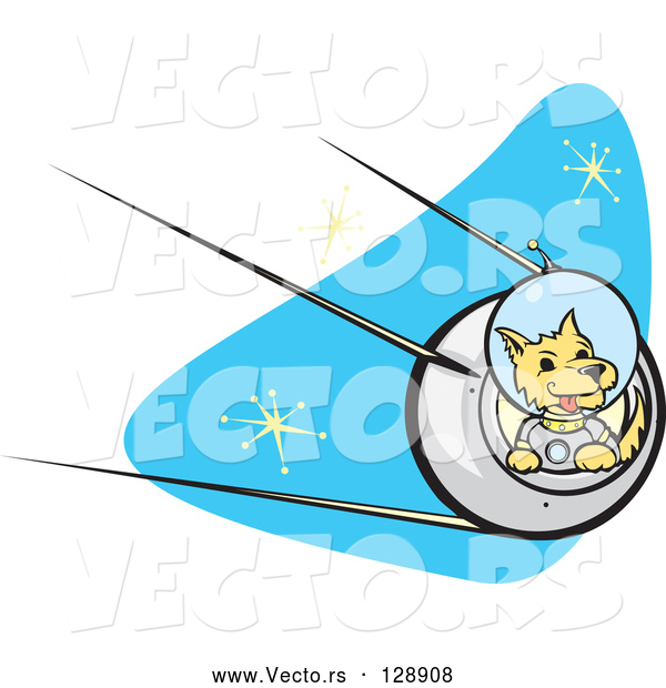 Vector of Astronaut Dpg Flying a Rocket in Outer Space