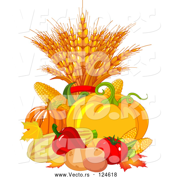 Vector of Autumn Harvest Vegetables and Leaves