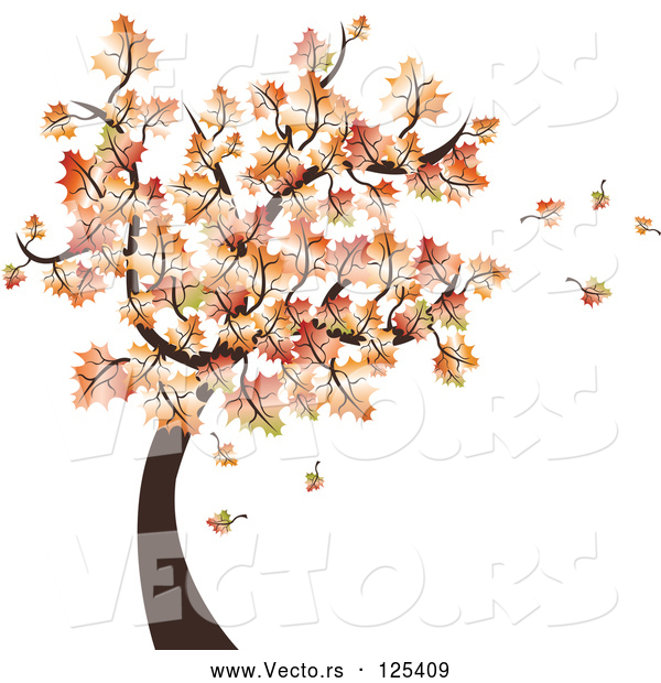 Vector of Autumn Tree and Leaves Falling