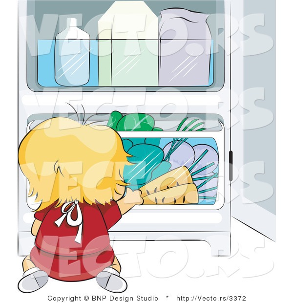 Vector of Baby Chef Getting Vegetables from Fridge