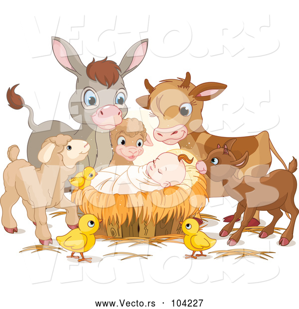Vector of Baby Jesus Surrounded by Animals