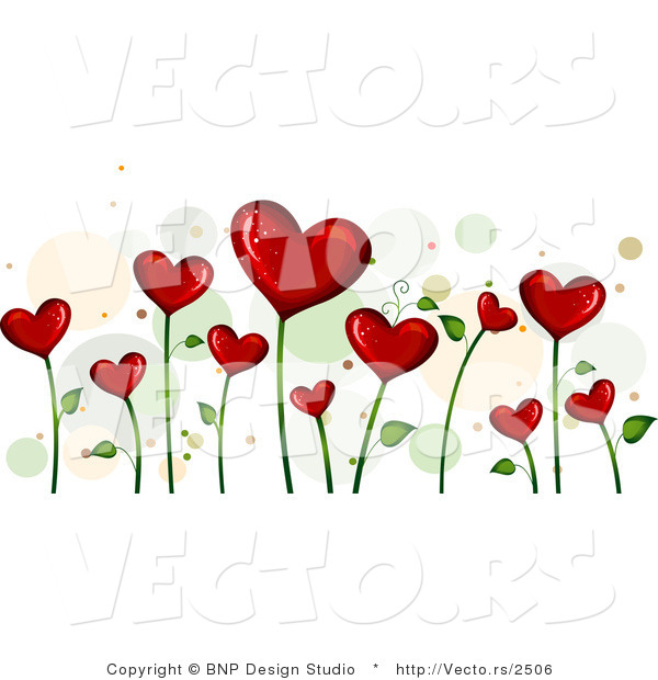 Vector of Background of Blooming Love Hearts over White Background Version 4