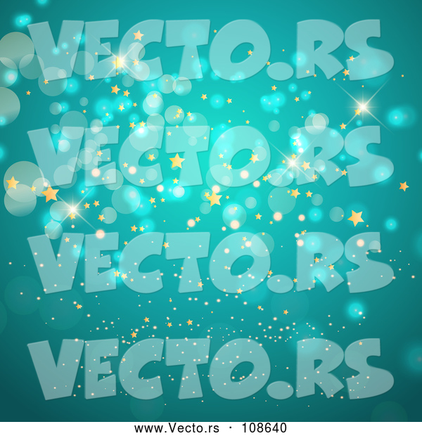 Vector of Background of Gold Stars and Bokeh Flares on Turquoise