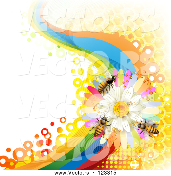 Vector of Background of Honey Bees on a Daisy Rainbow Wave with Honeycombs