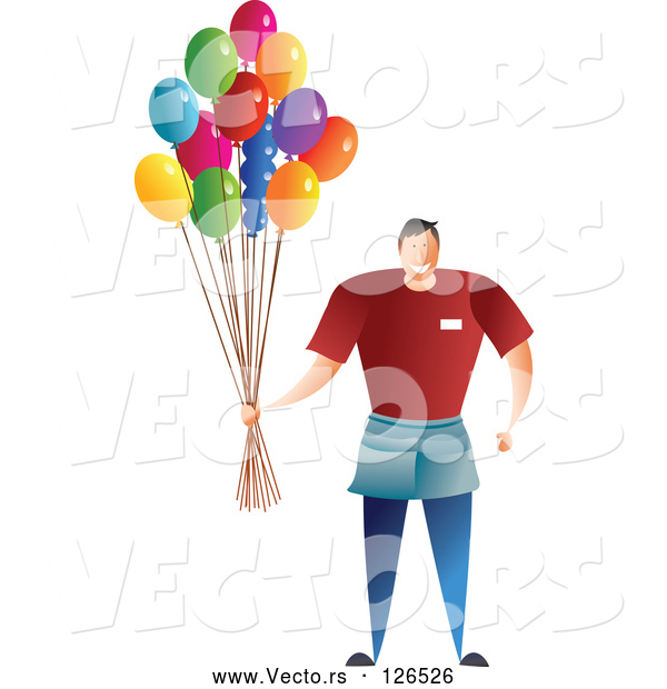 Vector of Balloon Guy Holding a Bunch of Party Balloons