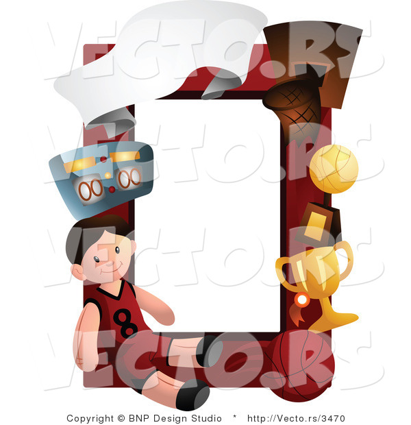 Vector of Basketball Boy Frame Border