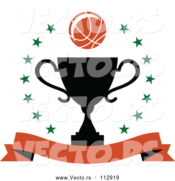 : Vector of Basketball over a Black Trophy in a Circle of Stars with a Blank Banner