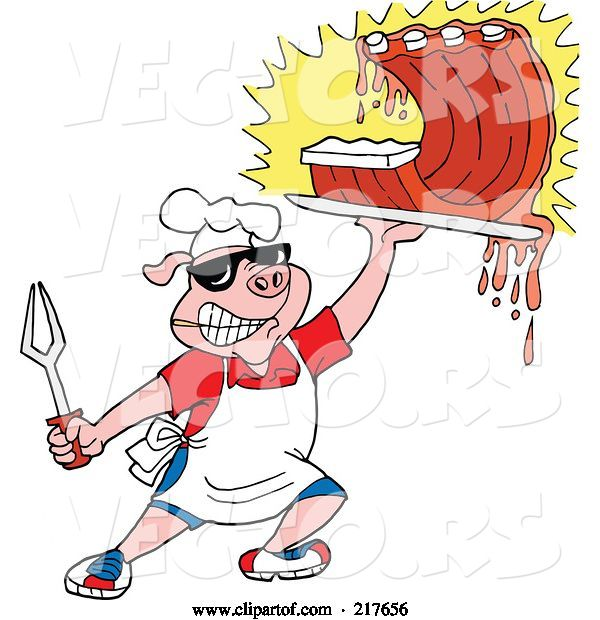 Vector of Bbq Pig Carrying Dripping Ribs