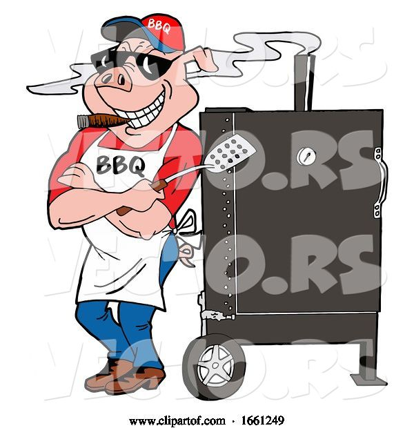 Vector of Bbq Pig Smoking a Cigar and Leaning Against a Smoker