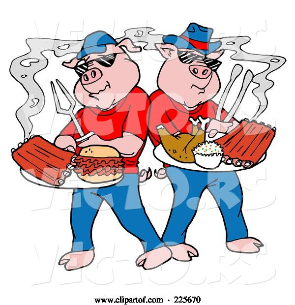 Vector of Bbq Pigs with Plates of Ribs, Pulled Pork Burgers and Poultry