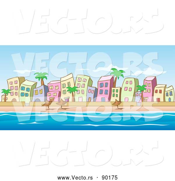 Vector of Beachfront Buildings Scene with Ocean and Blue Sky