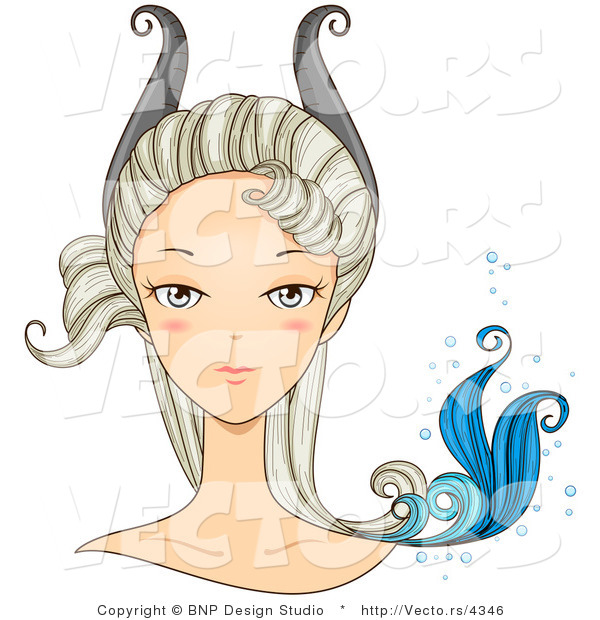 Vector of Beautiful Capricorn Girl's Face with Horns and a Tail on Her Head
