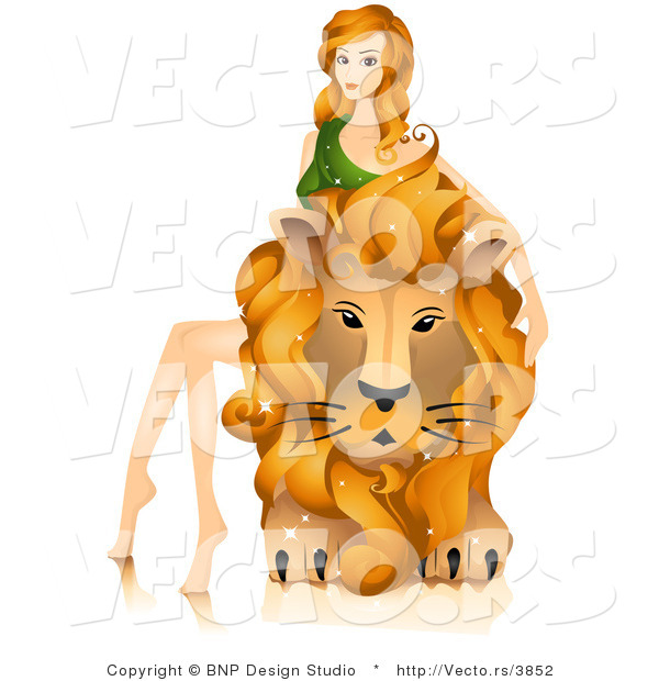 Vector of Beautiful Horoscope Leo Girl Sitting on and Petting a Lion