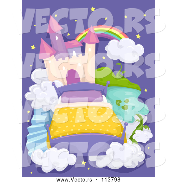 Vector of Bed and Castle in the Sky