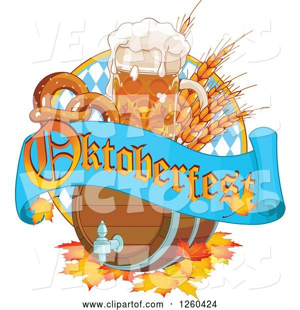 Vector of Beer Keg, Mug Wheat and Soft Pretzel with an Oktoberfest Banner