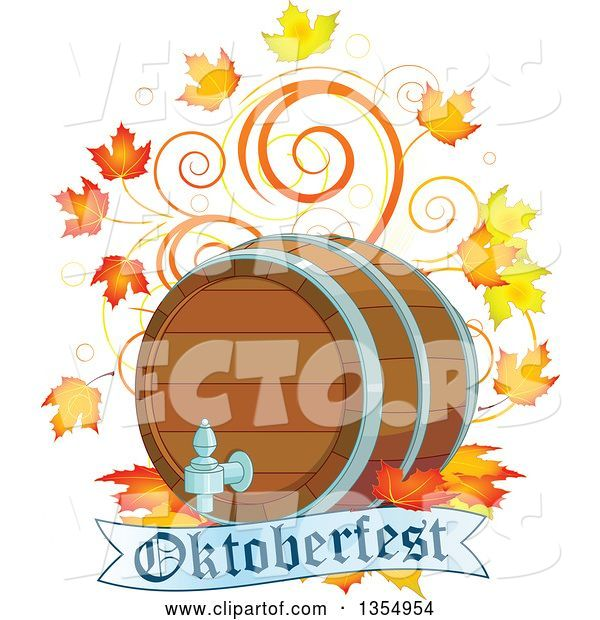 Vector of Beer Keg with Autumn Leaves and Swirls over an Oktoberfest Banner