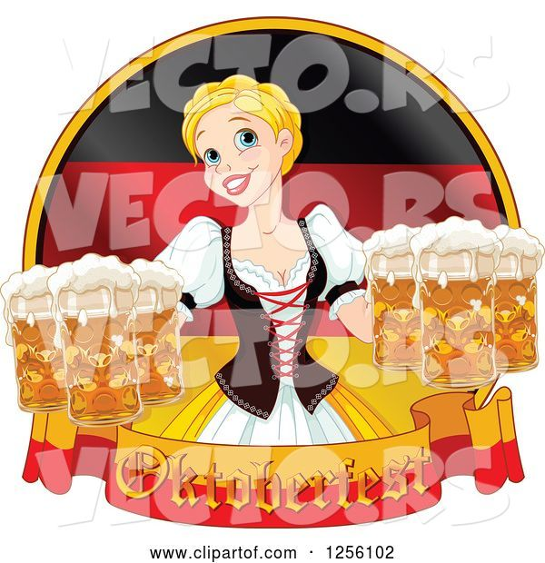 Vector of Beer Maiden with Oktoberfest Beer over a German Flag