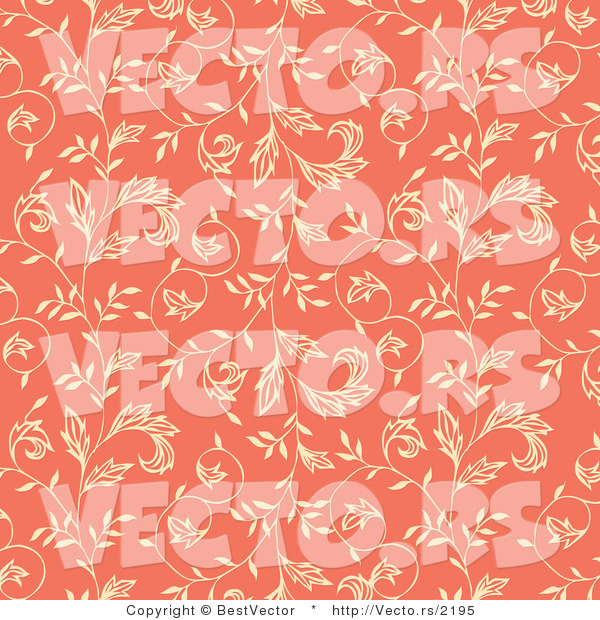 Vector of Beige Ivy Vines on Salmon Pink Seamless Background