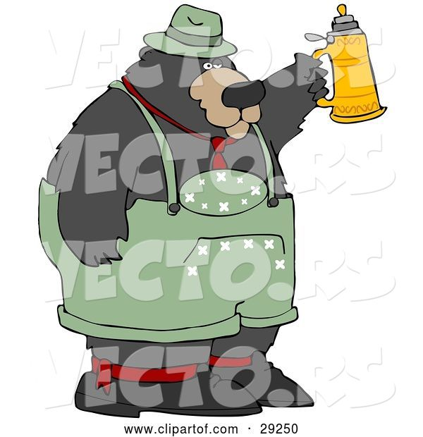 Vector of Big Oktoberfest Bear in Green, Holding up a Beer Stein