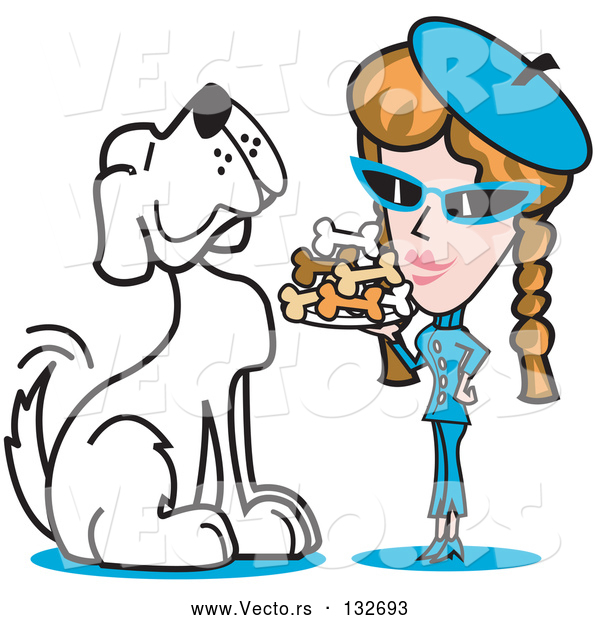 Vector of Big Spoiled White Dog Waiting As a Lady Serves Him a Tray of Dog Bone Biscuits