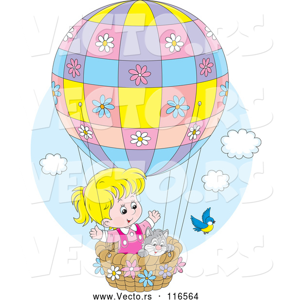 : Vector of Bird by a Cat and Blond Girl in a Hot Air Balloon