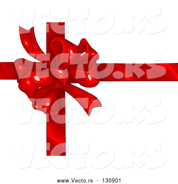 Vector of Birthday, Anniversary, Valentine's Day or Christmas Present Wrapped with a Red Ribbon and Bow over White