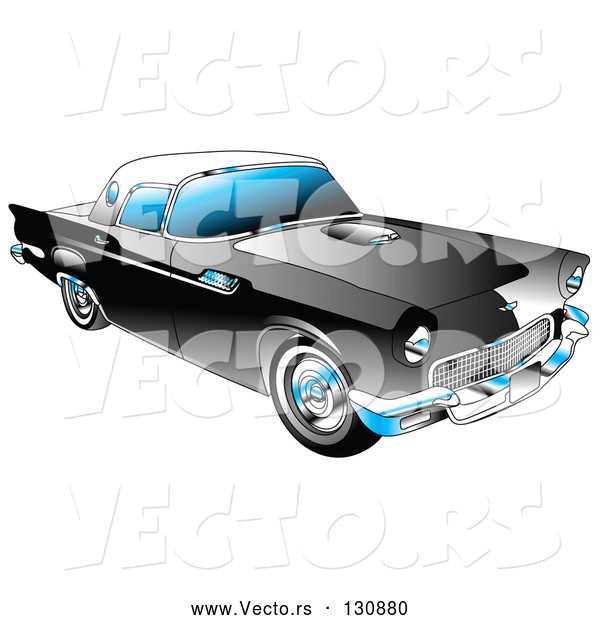 Vector of Black 1955 Ford Thunderbird Car with a White Removable Fiberglass Top and Chrome Accents