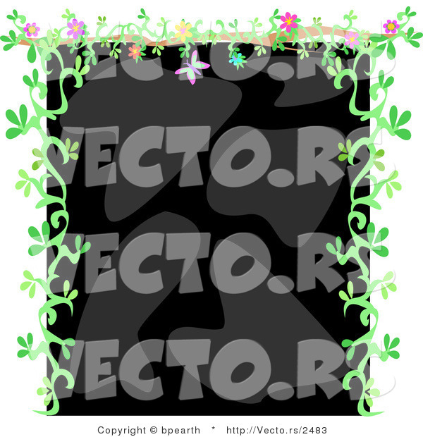 Vector of Black and Gray Background Bordered with Green Floral Vines and Flowers