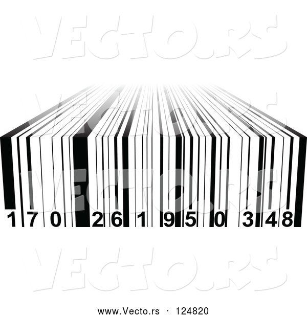 Vector of Black and White 3d Bar Code