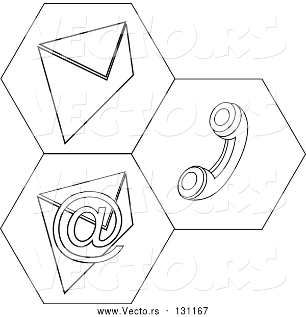 Vector of Black and White Contact Icons for Snail Mail, Telephone and Email Information