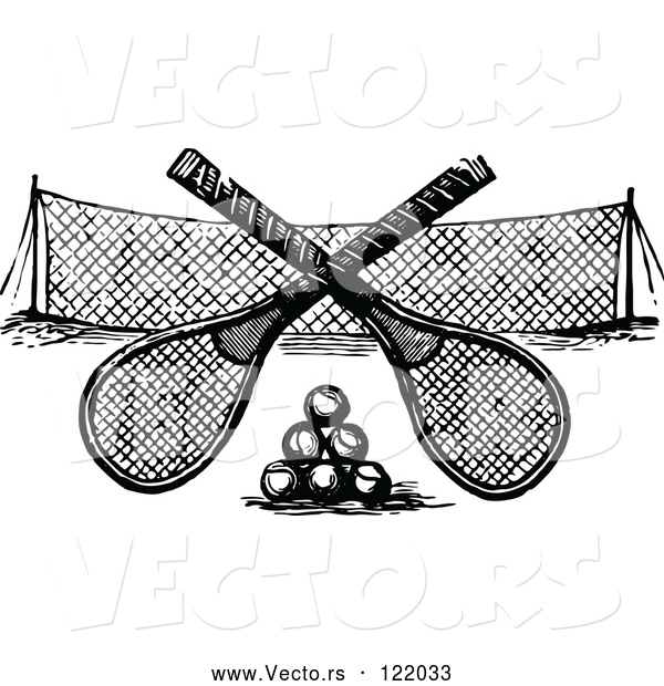 Vector of Black and White Crossed Tennis Rackets over Balls and a Net