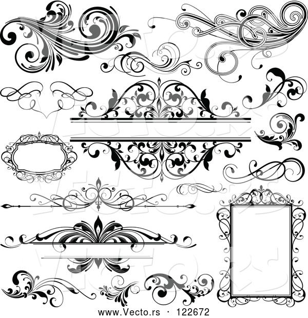 Vector of Black and White Design Elements Frames and Flourishes