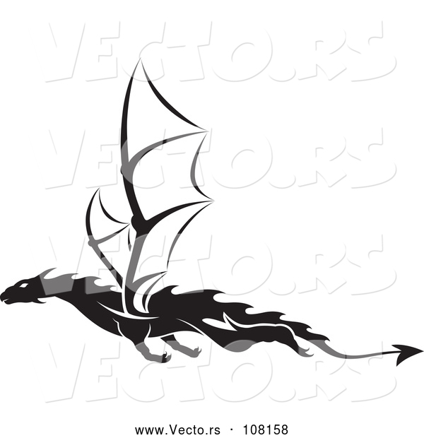 Vector of Black and White Dragon Tattoo Design