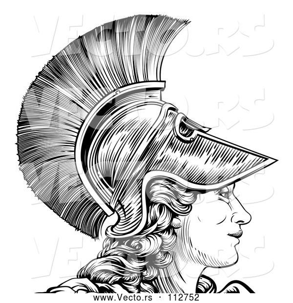 : Vector of Black and White Engraved Greek Warrior Lady Athena, Hera, or Britannia in Profile