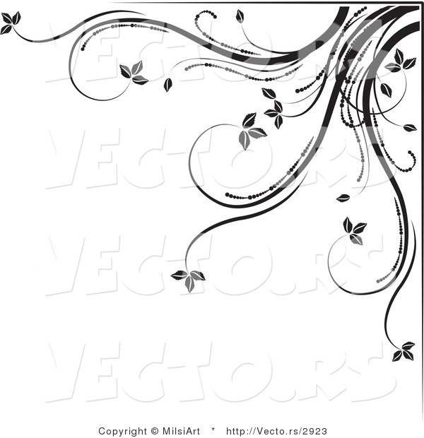 Vector of Black and White Floral Corner Border Design Element Version 5